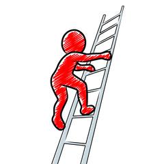Rotes Strichmännchen steigt eine Leiter hoch / Vektor, freigestellt