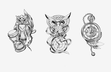 Sketch of two owls with a watch and a chronometer on a white background.