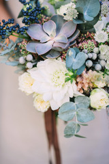 Textural green and white bouquet with succulents
