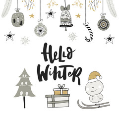 Hello winter - hand drawn Christmas card with lettering and decoration. Cute New Year clip art. Vector illustration