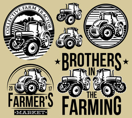 Set of monochrome patterns on agriculture with two types of tractors