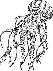 Jellyfish antistress. Hand drawn sketch for adult antistress coloring page.