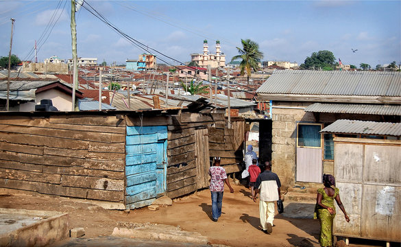 Development of residential infrastructure of Ghana slowed due poverty & poor housing conditions, where lifestyle of people from dense located slum houses is not at a good level. Accra, Ghana
