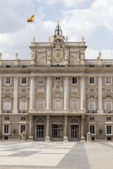 Front view of Palacio real in Madrid, Spain.