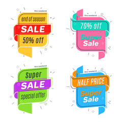Flat linear promotion ribbon banner, scroll,  price tag, discoun