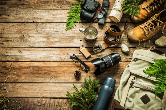 Camping or adventure trip scenery concept (flat lay)