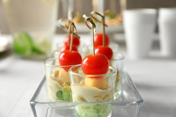 Spoed Fotobehang Voorgerecht Delicious appetizers for baby shower in glass dish on table