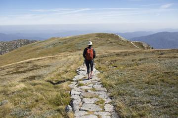 A female hiker walking away down a path