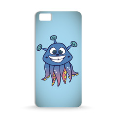 mobile phone case design with Cartoon of fantasy cute smiling creature with octopus parts