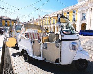 Tuk tuk on street of Lisbon in Portugal.