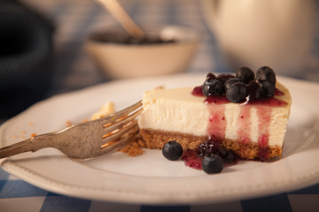 cheesecake on a plate with blueberries