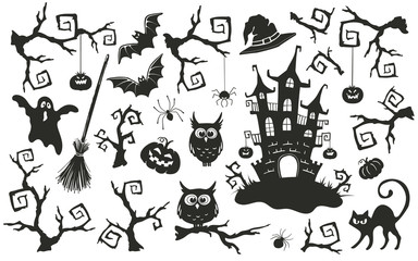 Halloween objects set isolated on white background. Collection of elements for Halloween party invitation design.