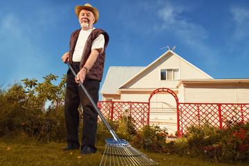 raking in the garden