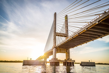 Cable-stayed bridge over Parana river, Brazil. Border of Sao Paulo and Mato Grosso do Sul states