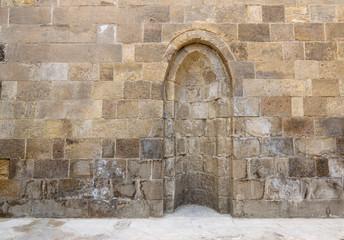 Stone wall with embedded niche, Exterior wall of Mausoleum of al-Salih Nagm Ad-Din Ayyub, Cairo, Egypt