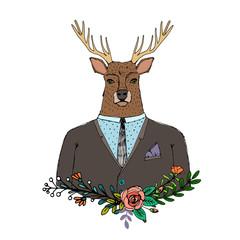 Portrait of Hand drawn Deer