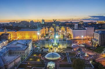 Fotobehang Kiev View of Independence Square (Maidan Nezalezhnosti) in Kiev, Ukraine