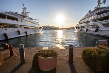 Luxury, rich Yachts moored in a harbor of Porto Cervo