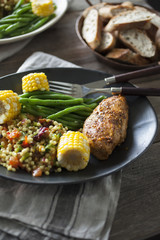 Oven Grilled Chicken Breast, Couscous, Corn cob and Green Bean Salad
