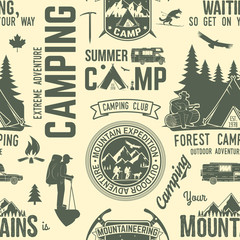Summer camp seamless pattern or background.