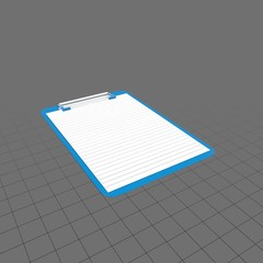 Blue clipboard with lined paper