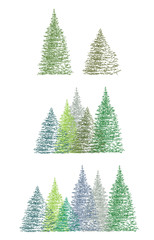 Set of colorful hand drawing Christmas tree vector illustration