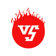 VS text and circle shape with fire frames. Red flaming VS letters for game or duel and confrontation. Versus red color illustration isolated on white background