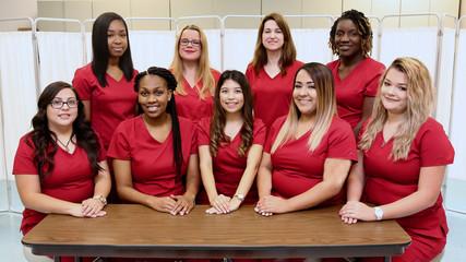 Healthcare professionals, hospital nurse staff group photo