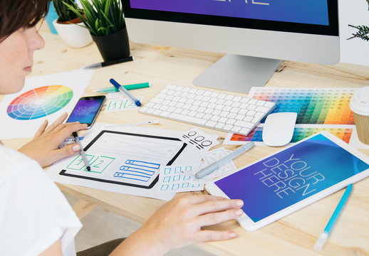 Web Designer with 3 Devices Mockup 2