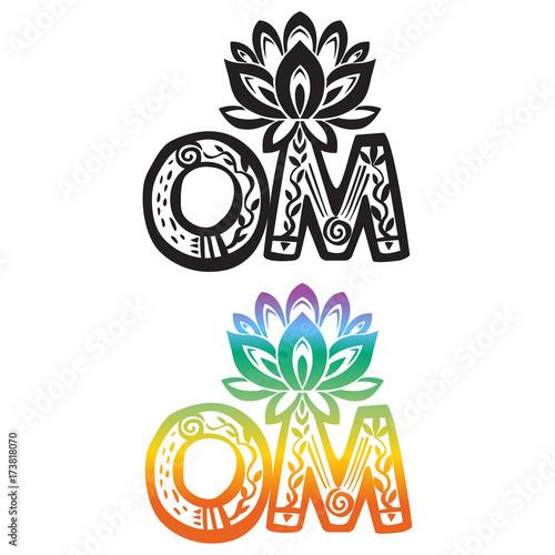 Word om with lotus flower silhouette stock image and royalty free word om with lotus flower silhouette mightylinksfo