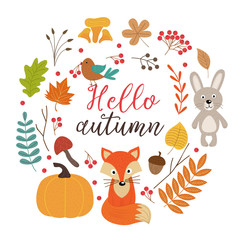 set of isolated autumn elements part 1  - vector illustration, eps