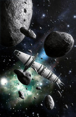 Wall Mural - spaceship and asteroid field