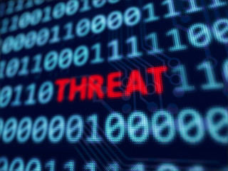 Threat red text between blue binary data on pixels screen 3D rendered with depth of field