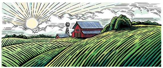 Rural landscape with a farm in engraving style and painted in color.