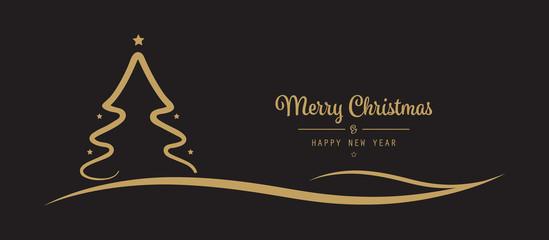 Fototapete - christmas tree stars greetings golden black background