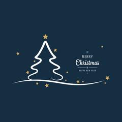 christmas tree stars lettering greetings golden blue background