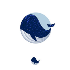 Blue whale illustration. Whale icon. Ocean or sea food reastaurant emblems. Whale in a circle, isolated, on a white background.