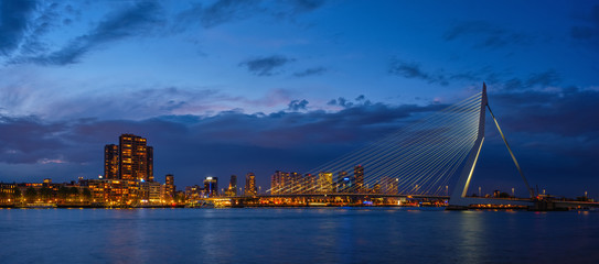 Photo sur Aluminium Rotterdam Erasmus Bridge, Rotterdam, Netherlands