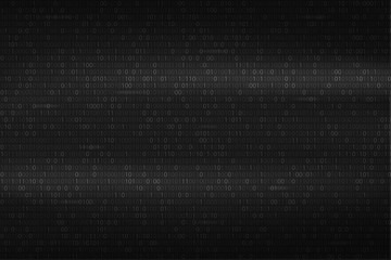 Abstract binary code background. Black and white digital technology wallpaper. Cyber data, decryption and encryption