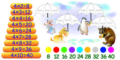 Exercise for children with multiplication by four. Need to paint umbrellas in relevant colors. Vector cartoon image.