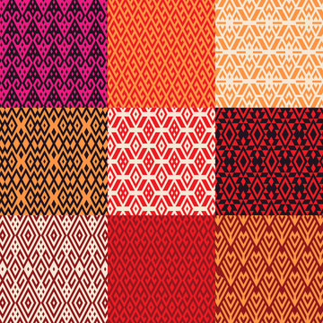 Pattern set of geometric shapes in ethnic style