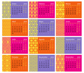 Spanish monthly calendar for 2018 with ethnic decorations