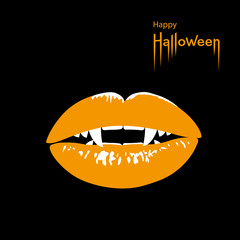 Happy Halloween card. Vampire's mouth with sharp fangs on black Halloween background. Vector Illustration