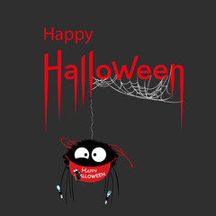 Happy Halloween card. Voracious spider in Happy Halloween apron. Vector Illustration