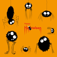 Happy Halloween card. Voracious spiders watching fly on orange Halloween background. Vector Illustration
