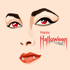 Happy Halloween card. Pretty woman's face with scary vampire fangs and red eyes. Happy Halloween lettering with spider web. Vector Illustration