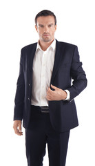 Handsome man in elegant black suit on white background