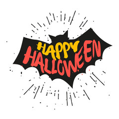 Silhouette of bat with lettering text Happy Halloween. Vector sticker.