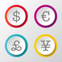 Global currencies - 3d icons on grey background. Vector.