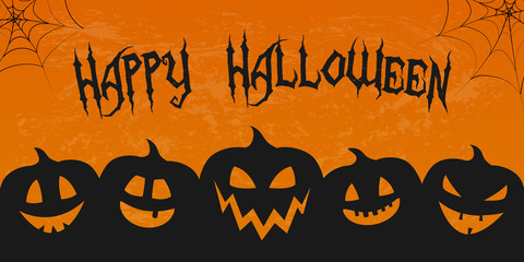 Scary banner for Halloween with silhouette of pumpkins. Vector.